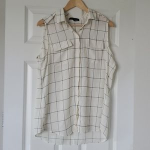 Cream and Navy Check Button Up Blouse